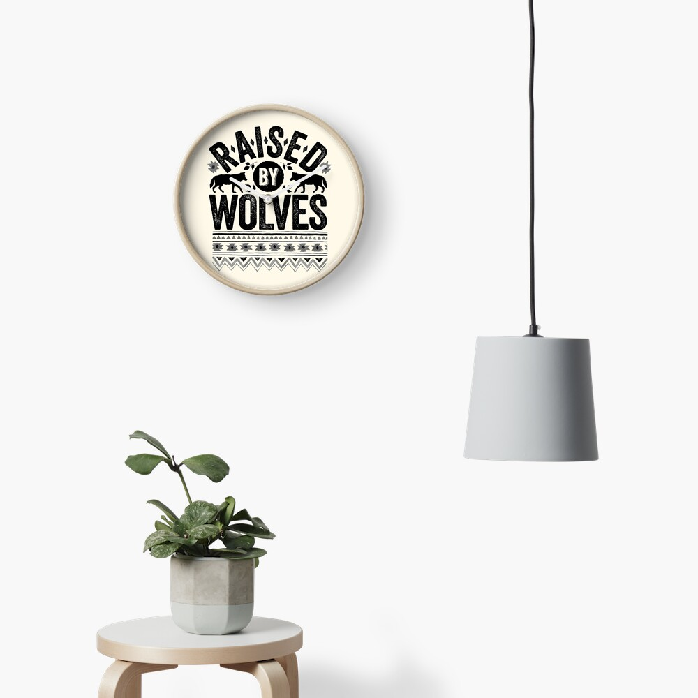 Raised By Wolves {Black + White} Clock