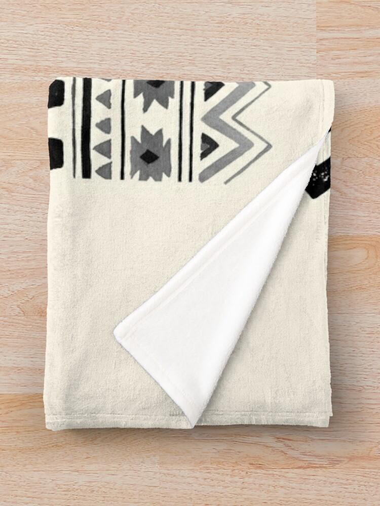 Alternate view of Raised By Wolves {Black + White} Throw Blanket