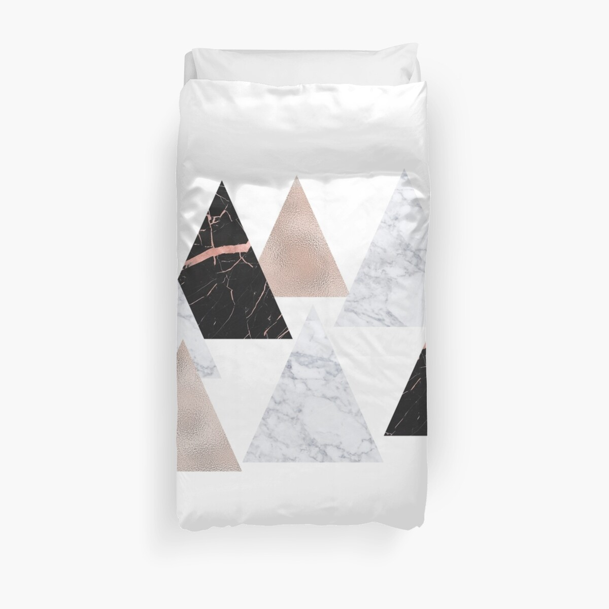 Quot Rose Gold Marble Geo Triangles Quot Duvet Cover By