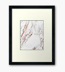 Rose gold vein marble Framed Print