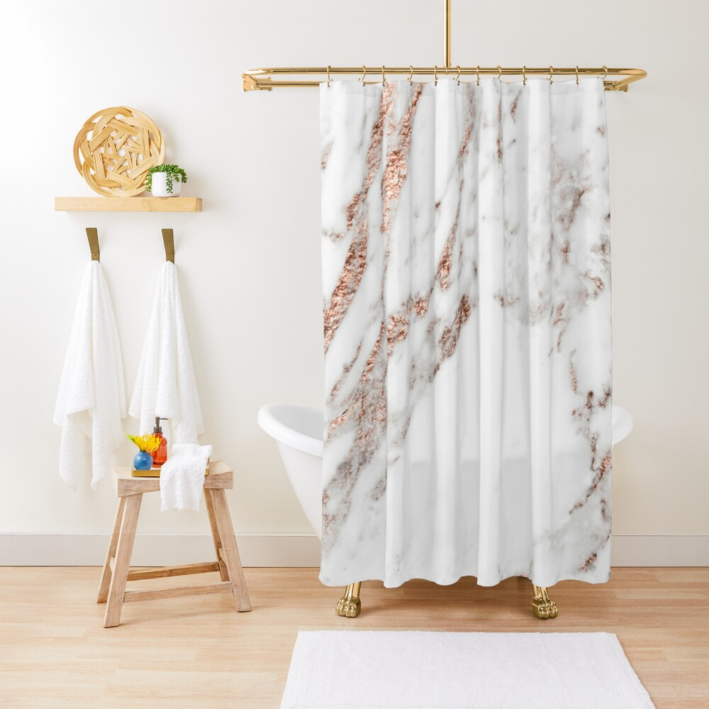Rose gold vein marble Shower Curtain