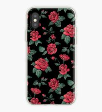 Scattered Red Roses on Black iPhone Case