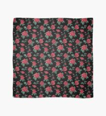 Scattered Red Roses on Black Scarf