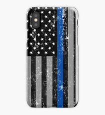 Thin Blue Line Flag iPhone Case/Skin