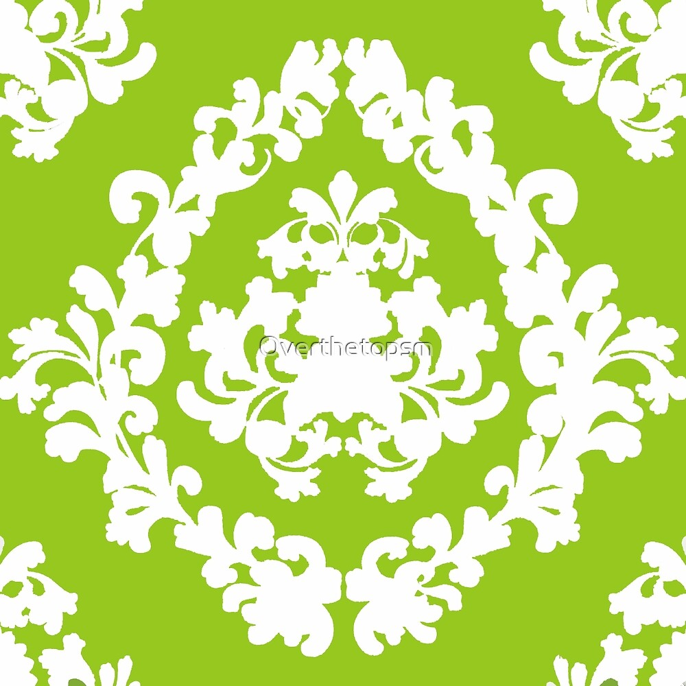 Victorian Damask GREEN AND WHITE Lace Pattern by Saundra Myles