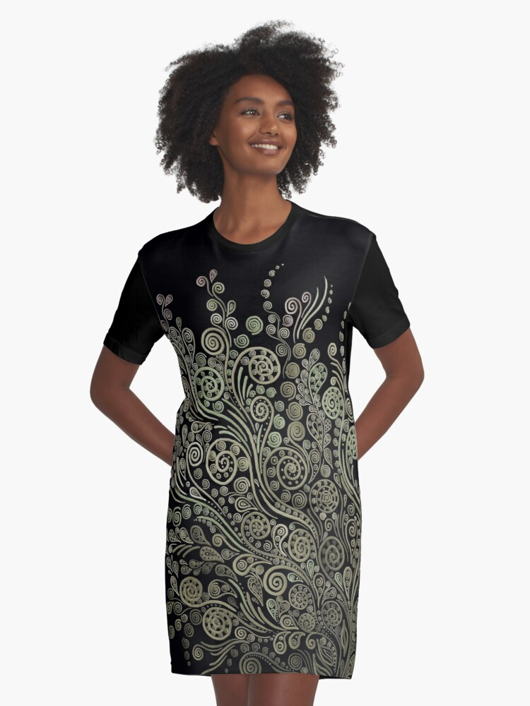Gold & green 3D ornaments. Graphic T-Shirt Dress Front