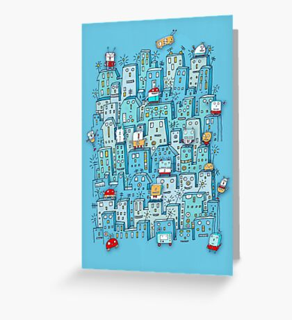 Little Robot City Greeting Card