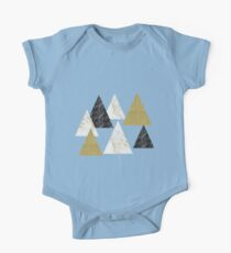 Golden shimmer geometric triangles One Piece - Short Sleeve
