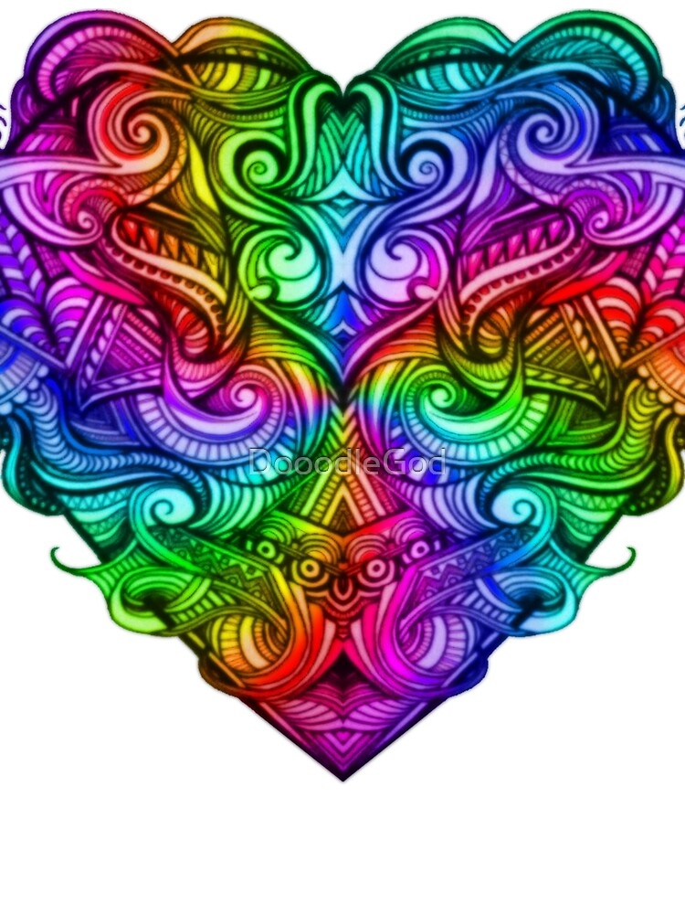 One Love Colorful Rainbow Hand Drawn Heart Design by DooodleGod
