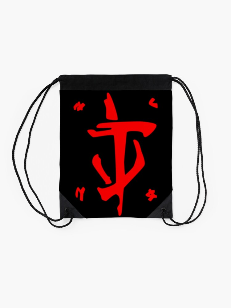 Alternate view of Mark of the Doom Slayer - Red Drawstring Bag