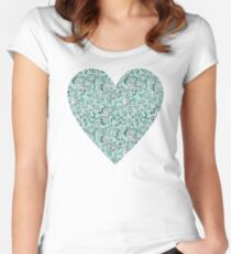 Blue Flower Heart Women's Fitted Scoop T-Shirt