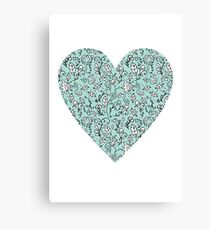 Blue Flower Heart Canvas Print