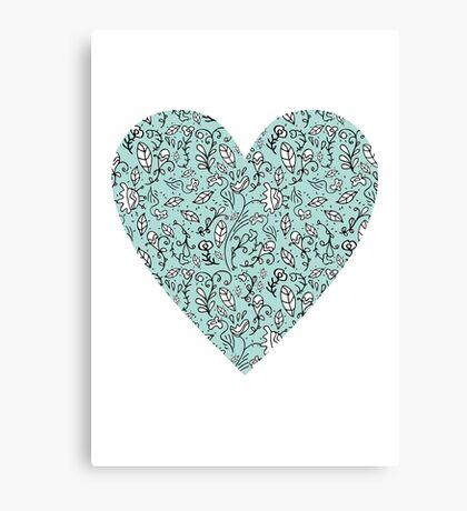 Blue Flower Heart Canvas Print