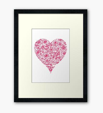 Pink Flower Heart Framed Print