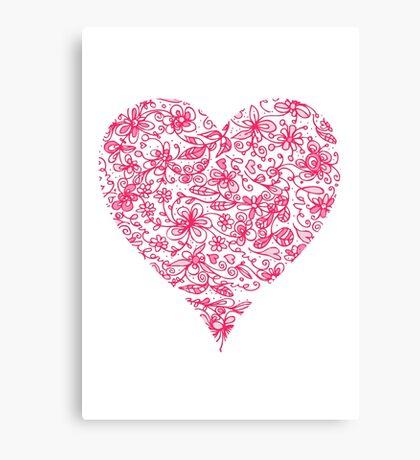 Pink Flower Heart Canvas Print