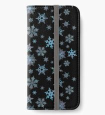 Embroidered Snowflakes on dark iPhone Wallet/Case/Skin