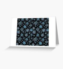 Embroidered Snowflakes on dark Greeting Card