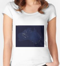 Austrailia At Night - As Seen From Space Women's Fitted Scoop T-Shirt