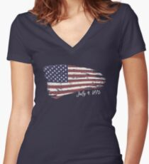 Independence Day 4th of July American Flag 1776 Freedom Women's Fitted V-Neck T-Shirt