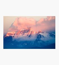 Snow Mountain at Pink Sunset Photographic Print