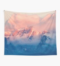 Snow Mountain at Pink Sunset Wall Tapestry