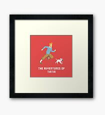 Tintin and Snowy pixel art Framed Print