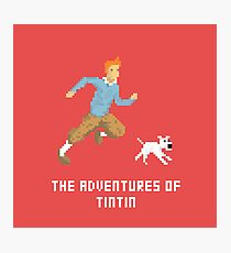 Tintin and Snowy pixel art Photographic Print