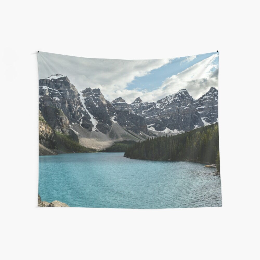 Rocky Mountains Blue Lake National Park Wall Tapestry