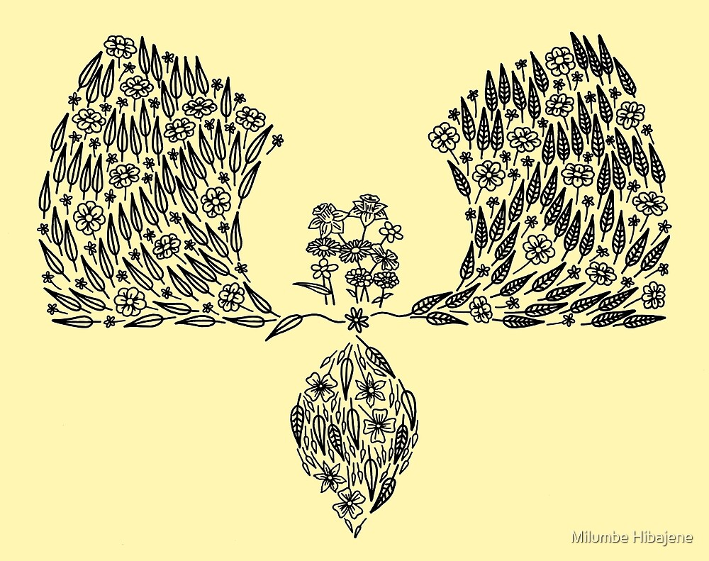 Partial Floral Arch (black line art) by Milumbe Hibajene
