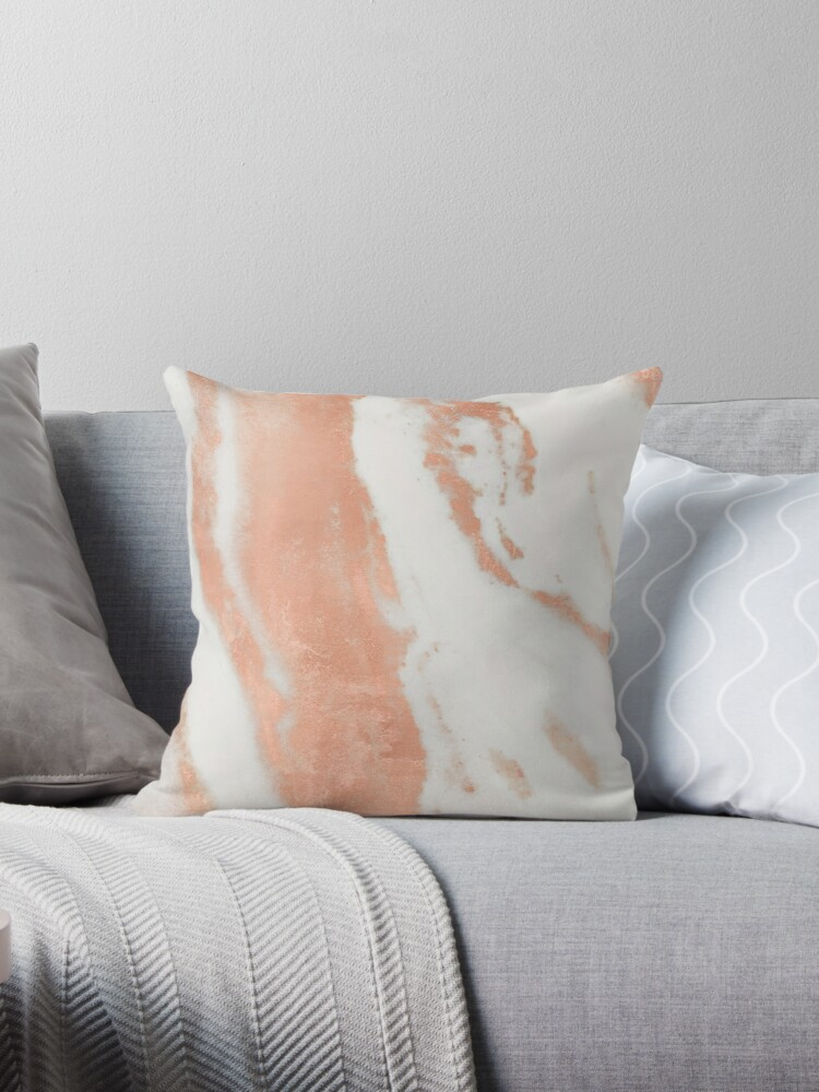 White Marble with Pink RoseGold Shimmer by naturemagick
