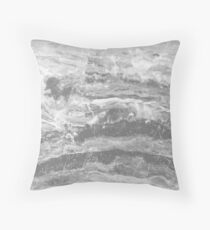 Grey Gray Marble - Real Marble Throw Pillow