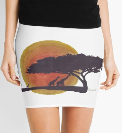 African Sunset silhouettes Mini Skirt