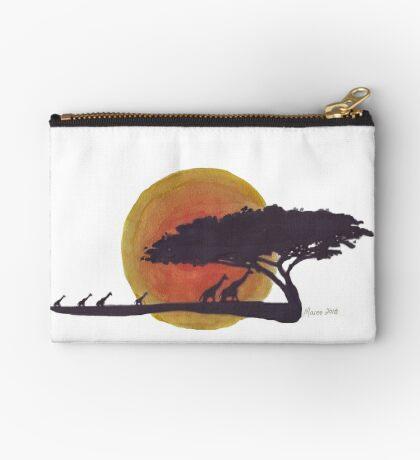 African Sunset silhouettes Zipper Pouch