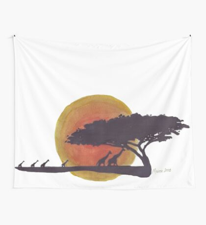 African Sunset silhouettes Wall Tapestry