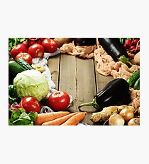 Frame made from fresh vegetables on wooden rustic table Photographic Print