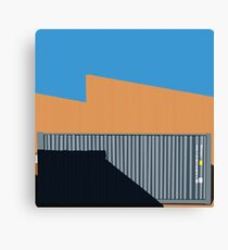 066 Gray shipping container warehouse blue sky Canvas Print