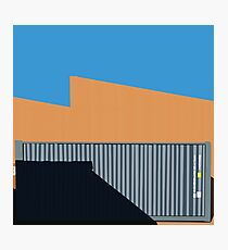 066 Gray shipping container warehouse blue sky Photographic Print