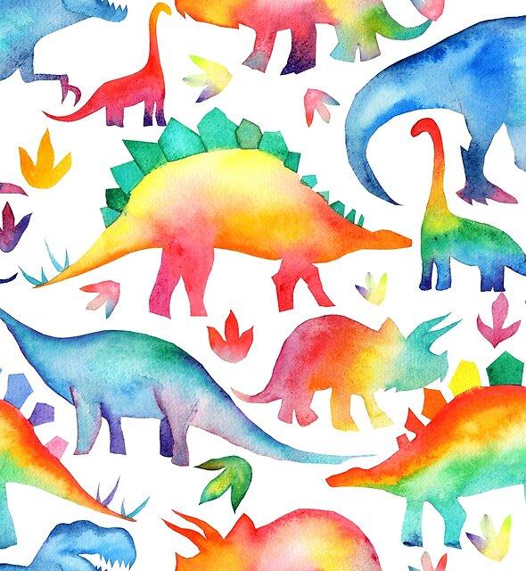 Rainbow Watercolour Dinosaurs by emmaallardsmith