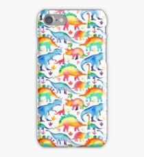 Rainbow Watercolour Dinosaurs iPhone Case/Skin