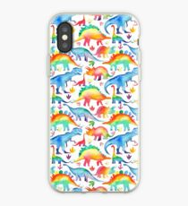 Rainbow Watercolour Dinosaurs iPhone Case