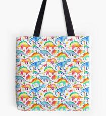 Rainbow Watercolour Dinosaurs Tote Bag