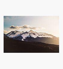Sunny Mountain Peak Snow Photographic Print