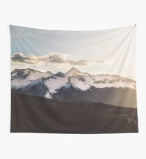 Sunny Mountain Peak Snow Wall Tapestry