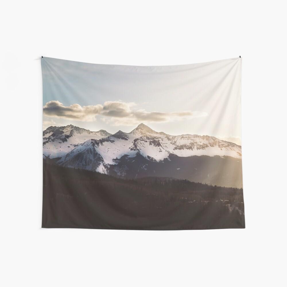 Sunny Mountain Peak Snow Wall Tapestry
