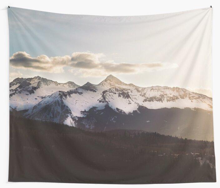 Sunny Mountain Peak Snow by TravelDream