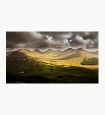 Sunny Mountain Valley Green Photographic Print