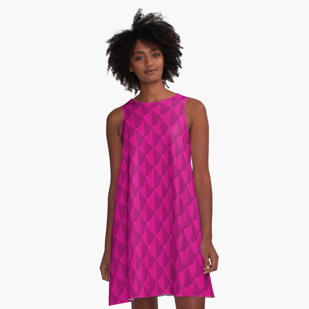 Pink Dragon Scales A-Line Dress Front