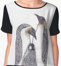 Zentangle Art Emperor Penguin Family Women's Chiffon Top