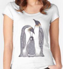 Zentangle Art Emperor Penguin Family Women's Fitted Scoop T-Shirt