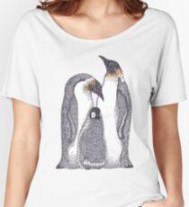 Zentangle Art Emperor Penguin Family Women's Relaxed Fit T-Shirt